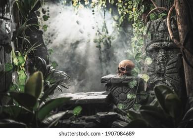Menschlicher Schädel und alte Ruinen im Dschungel, Erkundungs- und Abenteuerkonzept