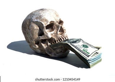 Human Skull Bank. Skull Piggy Bank with Money. Isolated on white. Room for text.