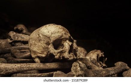 Human skull and bones lying in a heap