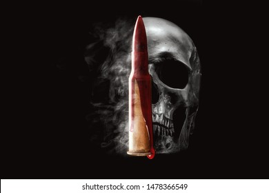 Human skull, bullet, blood and smoke on black background. Crime, war concept.