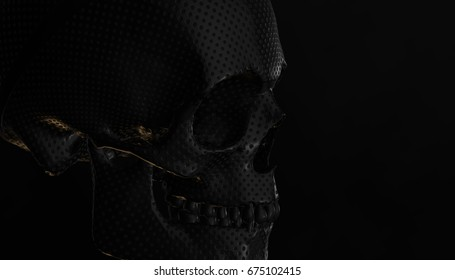 Human skull with dark background. Death, horror, anatomy and halloween symbol. 3d rendering. 3d illustration