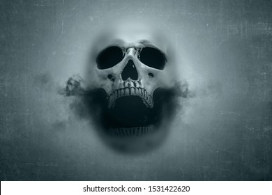 Human skull with dark smoke from his mouth behind of window glass with dark background
