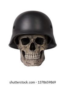 Human skull in military helmet isolated