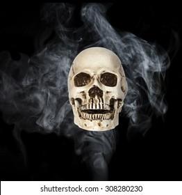 human skull on smoke