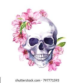 Human skull in pink cherry blossom, spring flowers of sakura. Watercolor