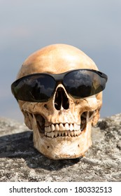 human skull with sun glasses on the rock