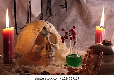 The human skull with a veil, two burning candles, a flask with green fluid, a box of jewels. Halloween still life. - Shutterstock ID 1024739119