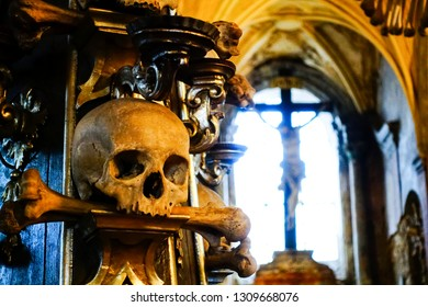 human skulls, bones and skeletons in Sedlec Ossuary, a small Roman Catholic chapel, in Kutna Hora, Czech. Most skeletons were from people who died due to Black Death and  Hussite War in 14~15 century.