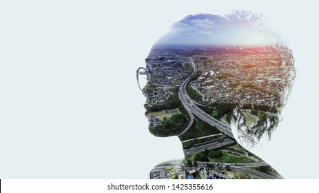 Human and society concept. modern cityscape and woman silhouette.