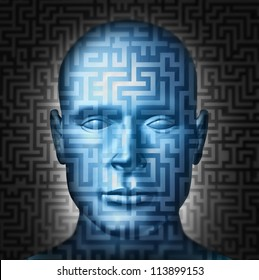 Human solution searching for a clear direction and answers to complex confusing financial or health problems in a front view head as a maze or labyrinth puzzle and challenge to intelligent choices.