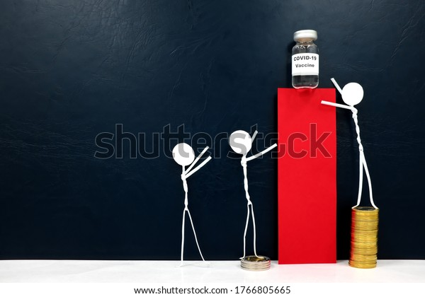 Human stick figures reaching for covid-19 vaccine vial. Purchasing power, access inequality and financial advantage concept.