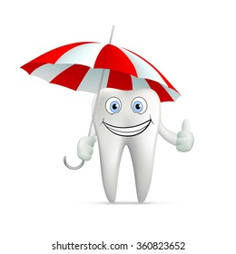 Human tooth with umbrella. Isolated on white background. Stock illustration.