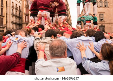 Human Tower - Castellers in Barcelona - Spain