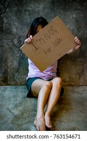 Human trafficking concept. I'm not for sale campaign. Woman is not a product.