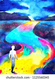 human walking in rainbow road abstract watercolor painting illustration design hand drawn