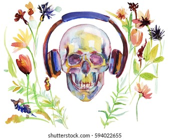 Human watercolor skull in headphones with flowers illustration.