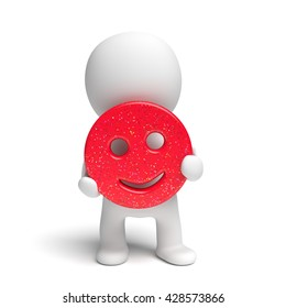 human white 3d person holding a happily smiling red smiley with applied colorful glitter (3D illustration isolated on a white background)