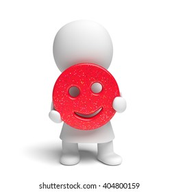 human white 3d person wearing a gown holding a happily smiling red smiley with applied colorful glitter (3D illustration isolated on a white background)