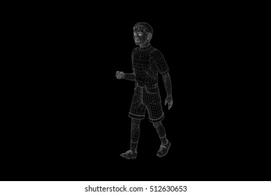 Human Wireframe Hologram in Motion. Nice 3D Rendering