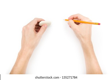Human writing and erasing something. Isolated on white with shadows