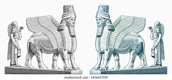 Human-headed five-legged Assyrian (Mesopotamian) centauroid, winged bull or winged lion and a winged Assyrian priest statues from the palace complex Sargon II in Khorsabad. 500 Iraq Dinars banknotes