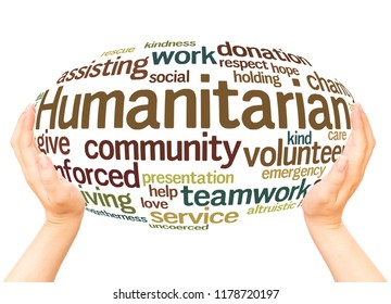 Humanitarian word cloud hand sphere concept on white background.