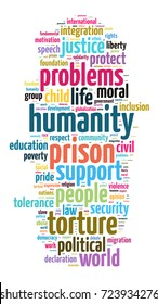 Humanity word cloud concept over white background