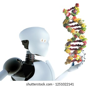 Humanoid robot holding nutrigenetics concept DNA strand made with healthy fresh vegetables and fruits