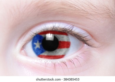 human's eye with national flag of puerto rico