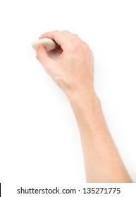 Menneskets hånd sletter noget på hvid baggrund