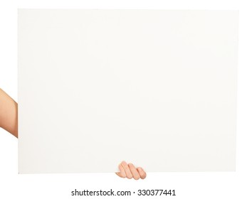 Humans hand with horizontal blank card on isolated white background