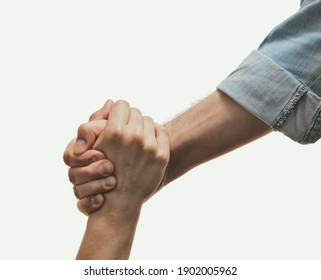 A human's hand saving the another human. Concept of salvation, donorship, helping hand.