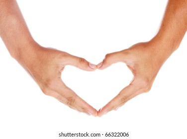 humans hands forming a heart over white background