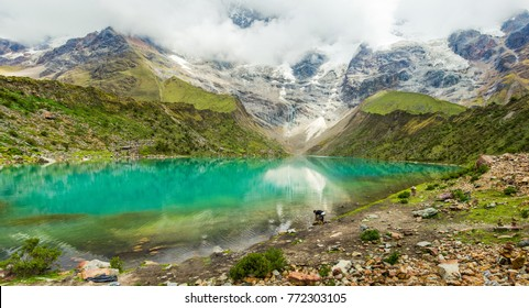 Humantay lake in Peru on Salcantay mountain in the Andes at 5473m altitude