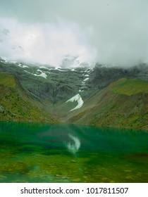Humantay Lake - Peru  Humantay Lake, is part of the Salkantay path. Old Inca trail to the ruins of Machu Picchu.