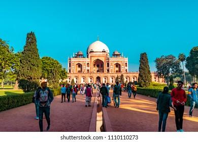 Humayun tomb,Delhi,January-2018: Humayun's tomb of Mughal Emperor Humayun designed by Persian architect Mirak Mirza Ghiyas in New Delhi, India.