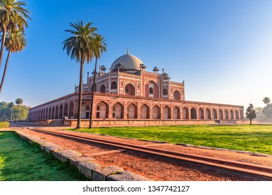 Humayun's tomb of Mughal Emperor Humayun designed by Persian architect Mirak Mirza Ghiyas in New Delhi, India. Tomb was commissioned by Humayun's wife Empress Bega Begum in 1569-70.