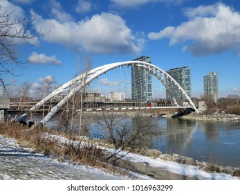 Humber Bay Arch Bridge on a shore of the Lake Ontario in Toronto, Canada, January 14, 2018