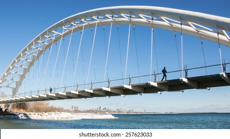 Humber Bay Arch Bridge. The Humber Bay Arch Bridge , a pedestrian and bicycle arch bridge south of Lake Shore Boulevard West in Toronto, Canada