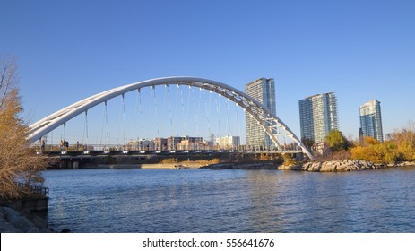 The Humber Bay Arch Bridge , a pedestrian and bicycle arch bridge south of Lake Shore Boulevard West in Toronto, Canada