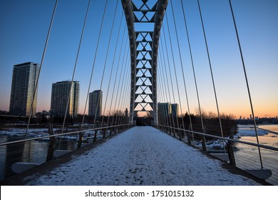 Humber Bay Arch Bridge in a snowy winter morning