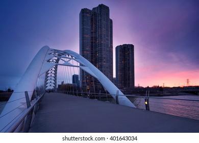 Humber Bay Arch Bridge, Toronto, Ontario, Canada.