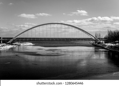 Humber Bay Arch Bridge, Winter, Black and White