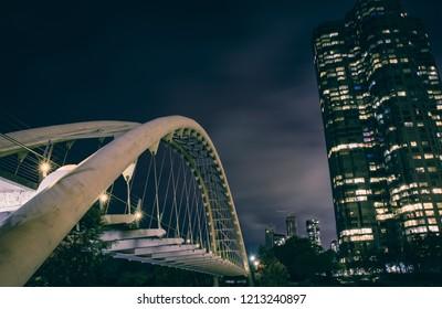 Humber Bay bridge in Toronto, Canada - long exposure after dark