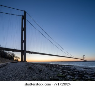 Humber Bridge, Dawn in Hull on the Humber Estuary in the UK City of Culture 2017