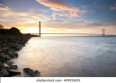 Humber Bridge, dawn light