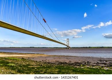 Humber Bridge in Hull. Bridging over the River Humber.