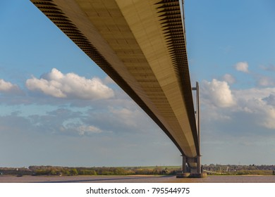Humber Bridge seen from Hessle, East Riding of Yorkshire, UK - looking towards Barton-upon-Humber