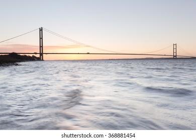 Humber Bridge at sunrise (Hull, UK)