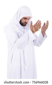 Humble man supplicates the Almighty God. isolated on white background.
